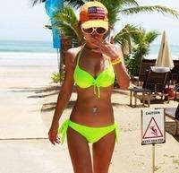 Neon Color Bikini Split Steel Female Swimwear Push Up Swimsuit Hot Springs BI06