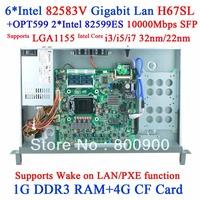 Gigabit Ethernet port 6 H67 soft routing firewall ROS 82599ES Gigabit Fiber Router Network server