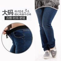 2013 autumn plus size jeans female trousers mm elastic waist skinny pants