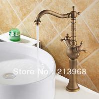 Antique Brass Countertop Double Handles Bathroom Sink Faucet ,good quality tap.