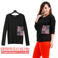 2013 plus size mm autumn clothing long-sleeve T-shirt female slim 100% o-neck cotton t-shirt