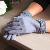 16 autumn and winter laciness bow pearl wool gloves thermal women's fingers gloves 9827