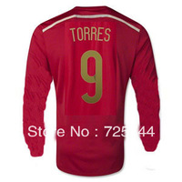 A+++ Thai Quality 2014 World Cup Spain home #6 A.INIESTA #9 TORRES #8 XAVI Long Sleeve Soccer Jersey Player version