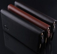 new 2014 brand genuine leather men's wallet clutch money bags for men black coffee purse 11032