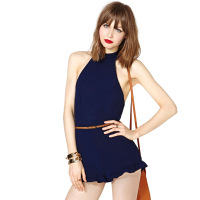 2014 new fashion Cross racerback high waist jumpsuit short design Dark Blue back invisible zipper haoduoyi