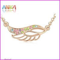 18K Gold Plated Feather Crystal Necklace  #100401