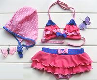Children's Set three-piece bikini cheap cute swimsuit girls Girls Kids Size 1-12 Swimwear Bathing Swim Free Shipping