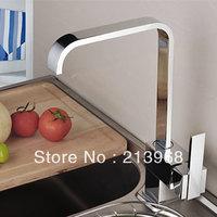 Beautiful square swivel kitchen faucet kitchen sink mixer tap (Chrome Finish)