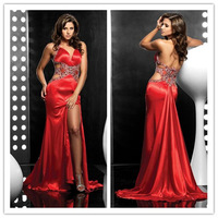 Free Shipping 2014 New Sexy Beading With Crystals Open Leg Red Sweetheart Backless Train Halter Evening Dresses B2093