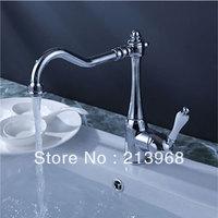 Chrome Finish Single Handle Brass Kitchen Faucet (White Handle)