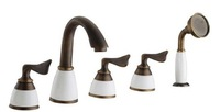2014 Seconds Kill New Traditional Antique Copper Tea Solid Roman Tub Filler Faucet with Hand Shower Head Kitchen & Bath Store