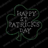 50Pcs/Lot Free Shipping Happy St.Patrick'S Day Rhinestone Trimming Wholesale Rhinestone Heat Transfers Iron On Patterns