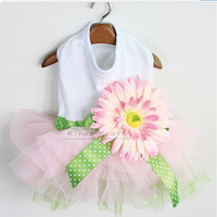 Puppy Dress Pet Dog Summer Clothes , Dog T-shirt with Chiffon Skirt, Wedding Dress Free Shipping