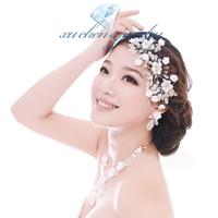 FREE SHIPPING handmade crystal clay pearl flower shape hair combs bridal hairwear wedding hair jewelry