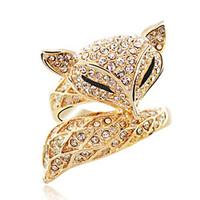 Wholesale 18K Gold Plated Sexy Fox Austrian Crystal Ring fashion Wedding Jewelry 1021