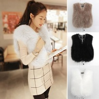 2014 Women Faux Fur Vest Winter Warm Coat Outwear Long Hair Short Jacket Waistcoat Tops coletes de pele feminino casaco p254