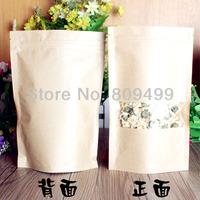 100pcs 9x13+3cm Open window Kraft paper Composite aluminum zipper top pouch Damp-proof bag freeshipping