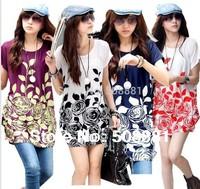 2014 new casual dress summer bohemia dress women big size blouse shirt flower print floral plus size woman tunic top 3XXXL~4XL