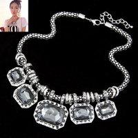 Fashion metal gorgeous gem necklace elegant design short necklace accessories