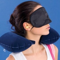 3 in1 Travel Set Inflatable Neck Air Cushion Pillow + eye mask + 2 Ear Plug Free Shipping 270245