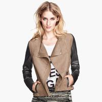 2015 Fashion Women's Color blocking chamois  Patchwork PU leather long sleeve slim motorcycle jacket jackets