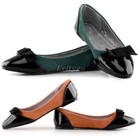 2014 Hot Selling New Womens Ladies Flat Ballet Ballerina Dolly Patent Toe Bow Shoes Green Orange 5 Size Free Shipping