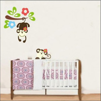 DIY Cute Cartoon Monkey Branch Wall Stickers Decals Kids Baby Nursery Room Decor