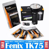 Newest 2014 Wholesale Original Fenix TK75 2900LM Super Brightness + Fenix ARE C2 Charger + 4 x Fenix 2600mAh 18650 L2 Batteries