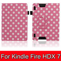 "50pcs Polka Dot Protective PU Leather Flip-open Case w/ Stand for 7"" Tablet PC Amazon Kindle Fire HDX 7"