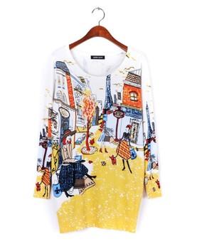 2014 spring Модный and Женщины's print pullover свитер Длинный design свитер ...