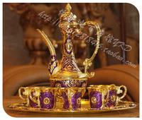 Quality metal gold plated lac 8 piece set fashion antique bar set wine kit