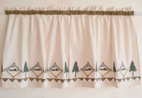 New style Christmas applique stitch coffee curtain short curtain fabric small curtain semi-shade finished product