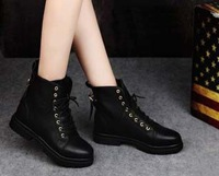 2014 NEW PAIR Spring and autumn motorcycle boots Martin knight Military boots black white women shoes