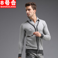 8 male sweater faux two piece sweater all-match grey turn-down collar sweater male