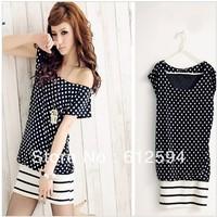 2014 new women/lady lovely dot dress stripe hem patchwork color block o-neck sweet cute party street  black elegant college