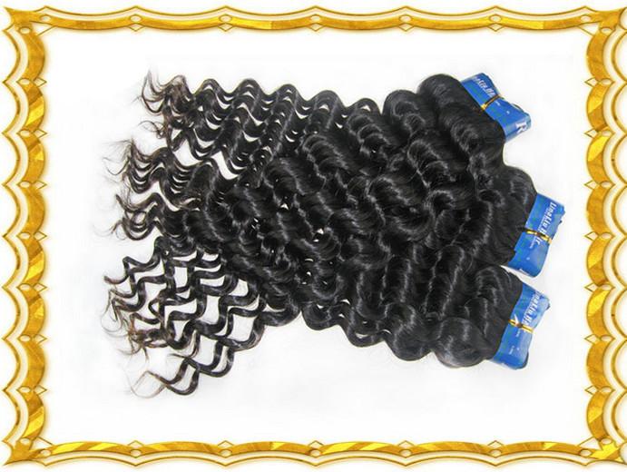 Flower Season Hair 100% Unprocessed Deep Wave Virgin Hair Mixed 18/20/22/24 Inch Human Hair Extension 4 Pcs Lot True Indian Hair(China (Mainland))