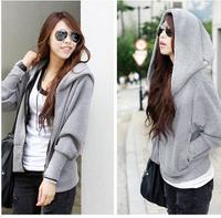 2014 Korea Fashion Design Women Batwing Sleeve Coat Sports Hooded+Zipper Plus Size Jacket  Winter FR5912