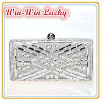 2014 New Evening Bag, Fashion Diamond Clutch Bag.Crystal Shoulder Bag.Gold, Silver Black,Spot wholesale Free Shipping NEB1312001