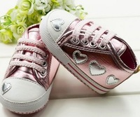 artificial PU silver pink baby first walker,soft anti-slip new born shoes