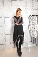 FREE SHIPPING Spring 2014 it irregular long design chiffon one-piece dress