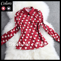 2014 early spring summer designer womens shirts blouse red black blackground white heart print fashion vintage cute brand dress