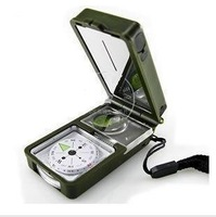 T10 multifunctional outdoor compass thermometer whistle led flashlight compass tool box