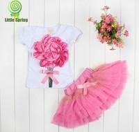 Wholesale 2014 summer girl dress girl big 3D flower sets kids tutu skirt shirt+skirt 2pcs suits 3 color