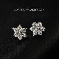 FREE SHIPPING~New Jewelry Fashion 925 Silver Sterling Shinning Zircon Snowflake Beautiful Flower Earring
