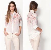 New 2014 women fashion gradient flower print Collar Button chiffon blouse long-sleeved shirt blouse top