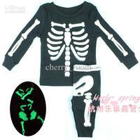 Kids Boys Skull Printed Long Sleeve T shirt Tops+Skeleton Pants Halloween Costumes Korean Children 2pcs Set 608