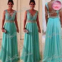 Custom Size -Custom Sweetheart Beadings Nude Back Blue Lace Chiffon 2014 Sexy Long Evening Dresses
