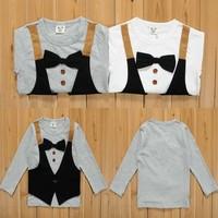 2014 spring new arrival fashion wholesale 2 colors bow tie botton vest children long seelve T shirt