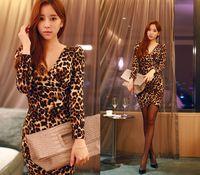 Spring and Autumn 2014 new chiffon dress sexy female v-neck render leopard print tight dress women's sexy dress