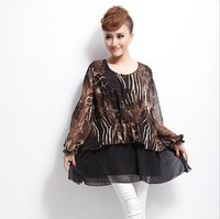 Free shipping 2014 spring fashion women's loose plus size chiffon leopard print one-piece dress mm one-piece dress  5xl